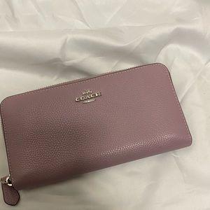Coach Leather Pastel Purple Accordion Wallet